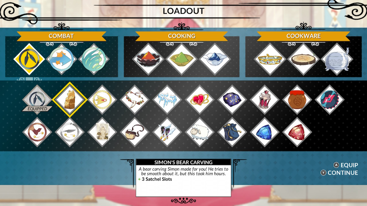 The gear customization screen has more combos than an old fashioned diner.