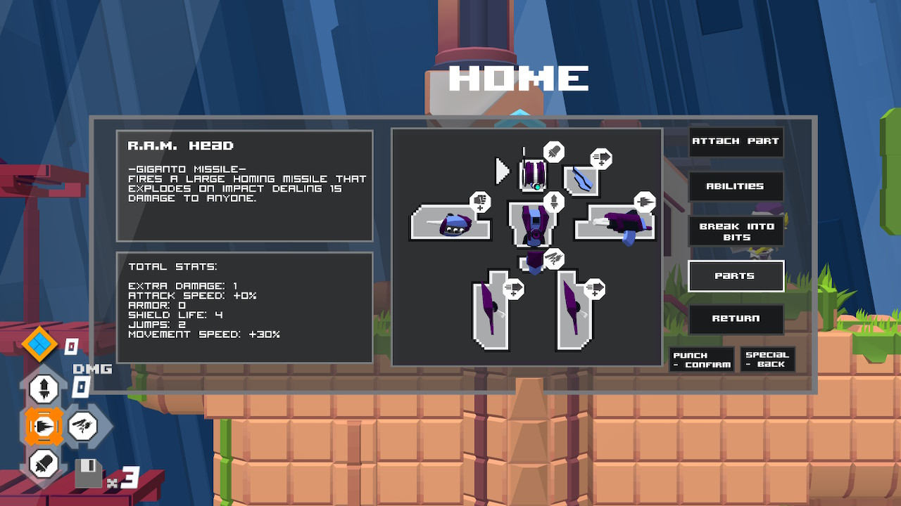 All your Megac's Parts are visible in the Parts subsection of the Parts/Abilities Menu opened with Y.
